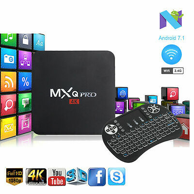 MXQ PRO Quad Core Android 7.1 WIFI 4K HDMI Smart TV Box With Backlit Keyboard i8