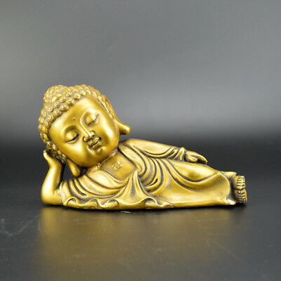 Exquisite Chinese old collection handwork brass Sleeping Buddha statue