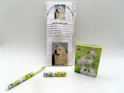 New Great Pyrenees Dog Gift Set (Magnetic List Pad Pen Magnet & Playing Cards)