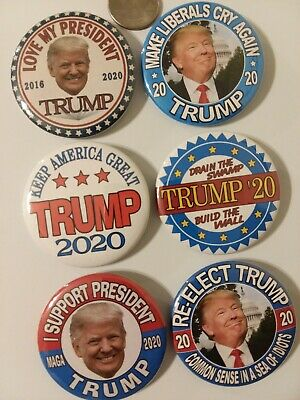 "6-pack, 2020 DONALD TRUMP for PRESIDENT 2.25"" CAMPAIGN BUTTON, MEMORABILIA, PIN"