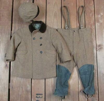 Vintage 1950s Wool Tweed Boys Winter Outfit Coat Jacket Pants & Hat/Cap Ski Suit