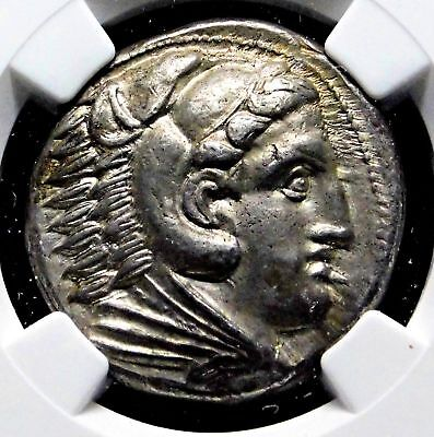 NGC AU 5/5-4/5. Alexander the Great. Magnificent Tetradrachm. Greek Silver Coin.