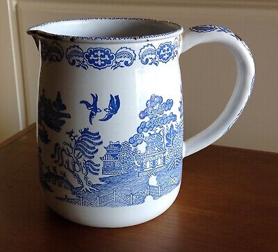 Vintage Old Enamel White and Blue Willow Pattern Jug