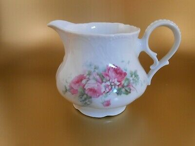 Vintage PS Bavarian Porcelain China Creamer Pink Floral Pattern Germany