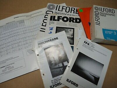 Bundle of ILFORD photographic Items. Booklets, Processing Chart & some paper.
