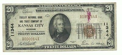 $20.00 Circulated 1929 NATIONAL BANK NOTE Kansas City, MO. Type-1 Charter #11344