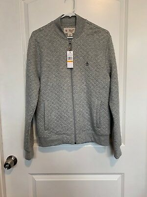3fae08936 NWT AN ORIGINAL Penguin Men's Quilted Bomber Jacket, Small, Silver