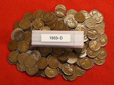 1934-D LINCOLN WHEAT CENT PENNY 50 COIN ROLL G-VF COLLECTOR COINS GIFT