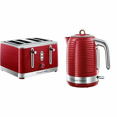 Kettle and 4 Slice Toaster Set Red Cheap Sale Deal Kitchen Russell Hobbs Inspire