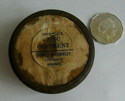 old TAS' Chemists Tin SIDWELL'S ZINC Ointment SIDWELL & TOWNLEY Chemists HOBART