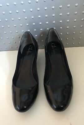 COLE HAAN Black Patent Leather Low Wedge Court Shoes Womens 10B-Near New Condn