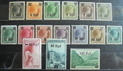 GERMANY Third Reich 1940 Occupation of Luxemburg Complete Set of 16 MNH