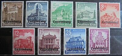 GERMANY Third Reich 1941 Occupation of Luxemburg Complete Set of 9 MNH