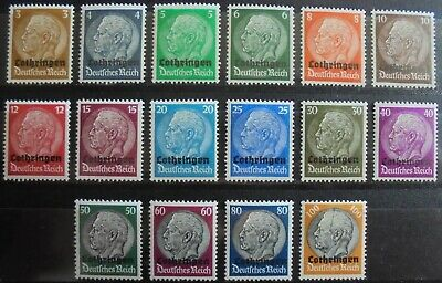 GERMANY Third Reich 1940 Occupation of Lorraine Complete Set of 16 MNH