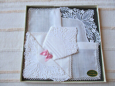 Vintage Boxed Irish Linen Lace Embroidered Handkerchiefs – Bride Bridal Wedding