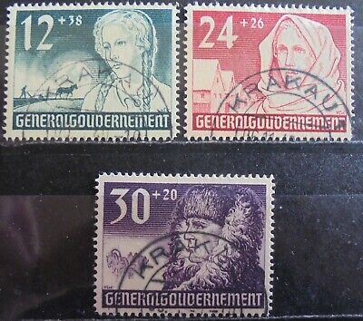 GENERAL GOVERNMENT 1940 1st Anniv of German Occupation Complete Set of 4 Used