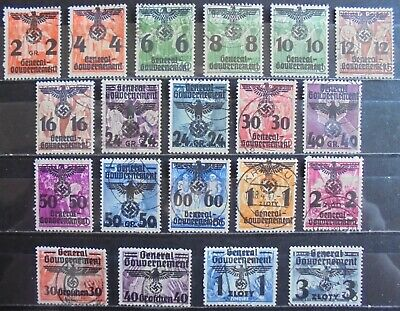 GENERAL GOVERNMENT 1940 Excellent Collection of 20 Used