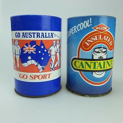 2 Vintage Willow Brand Tin & Styrofoam Can Stubbie Coolers Go Sport & Cantainer