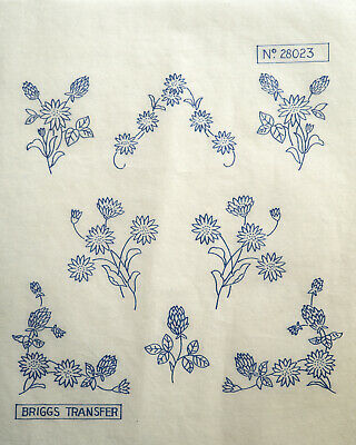Vintage Iron On Embroidery Transfers Flower Designs Briggs Transfer 28019