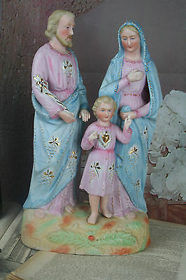 Antique french Porcelain Bisque Holy Family religious group Madonna 1920 marked