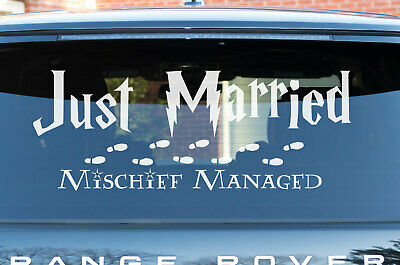 Mischief Managed Just Married Harry Potter Wedding Car Sticker Removable Decal