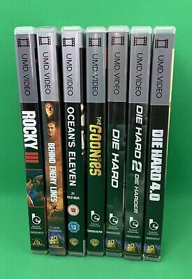 SONY PSP UMD Movies Bundle 7 Films Die Hard Goonies Rocky Behind Enemy  Lines Lot