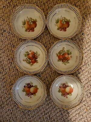 6 Antique C S Schumann Bavaria Fruit Pattern Plates
