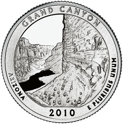 2010 S Silver Gem Proof Grand Canyon America The Beautiful Quarter 90% Silver