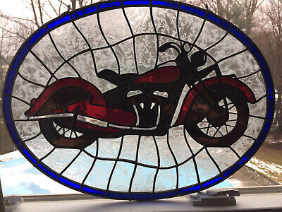 Vintage Stained Glass - 1945 Indian Chief Motorcycle - Classic & Cool