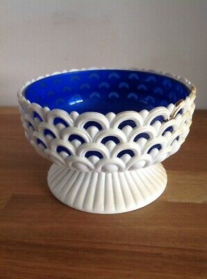 Vintage Retro Posy Flower Bowl Cream Blue Plastic Dialene Kitsch 1960s