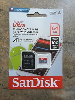 SanDisk Ultra 64GB microSD microSDXC  Class 10 UHS-I 100MB/S  Flash Memory Card