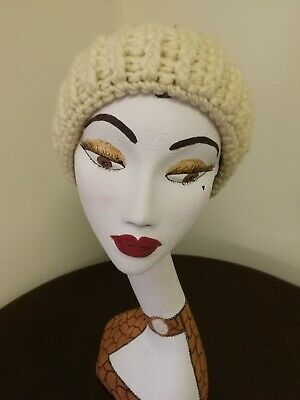 Vintage 1970s Suede and Wool Beanie in Cream & Beige - St Michael - Size S / M