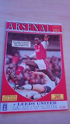 Arsenal v Leeds United Programme 1990-91 FA Cup