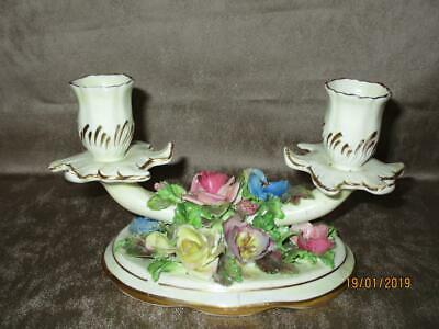 Handpainted 1920's CROWN STAFFORDSHIRE  Double Candlestick Floral Table Centre