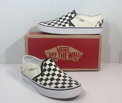 dae2c03a1e VANS Asher Womens Size 6 Black White Canvas Checkerboard Slip On Shoes  F7-232