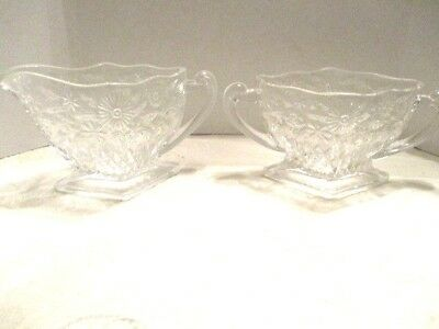 Vintage Clear Press Glass Floral Diamond Shaped Pedestal Creamer and Sugar Bowl