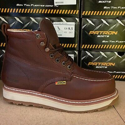 MEN'S WORK BOOTS Moc Soft Toe Genuine Leather Lace Up Safety Brown Botas