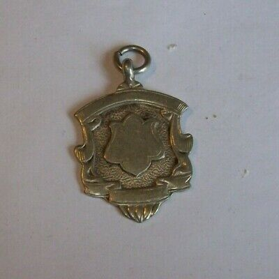 Antique  1922 Solid Silver  Pocket Watch Fob / Medal  With Blank Sheild To Front