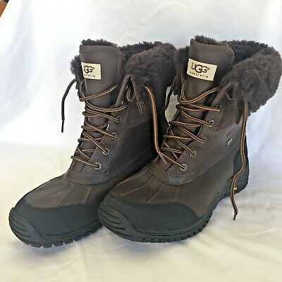 0afb5137f39 UGG ADIRONDACK II Obsidian Brown Waterproof Leather Snow Boots Size US 10  Womens
