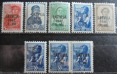 GERMANY Third Reich 1941 Occupation of Latvia Nice Collection of 8 MNH