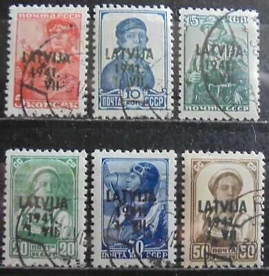 GERMANY Third Reich 1941 Occupation of Latvia Complete Set of 6 Used