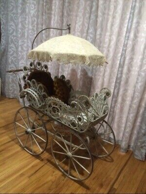 Antique Victorian Baby Carriage Buggy with Parasol