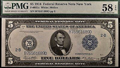 Fr. 851c 1914 $5 Federal Reserve Note New York PMG 58EPQ