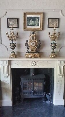 Vintage Early-Mid 20th Century Working Chiming Gilt Clock Garniture - Reduced!!