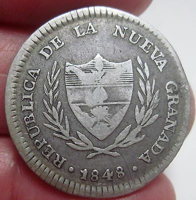 1848 (COLOMBIA) 2 REALE (SILVER) REPUBLIC of NUEVA GRANADA very very scarce date