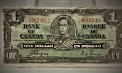 "1937 ""Rare""Bank of Canada One Dollar Banknote ""Circulated"""