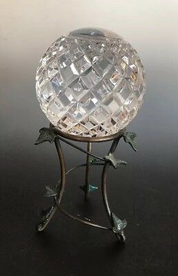 Vintage Crystal Ball  Diamond Cut and Grooved and Verdigris Ivy Brass Stand