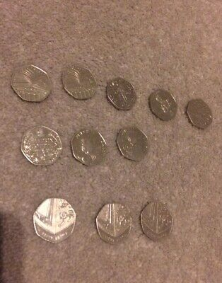 50P FIFTY PENCE BRITISH COIN DESIGNS VARIOUS x 11 peatrix potter, battle of hast