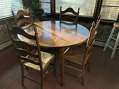 Vintage Tell City Furniture Co Andover Maple Dining Table 4 Ladder Back Chairs