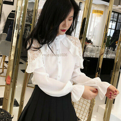 New Spring Fashion Women Lace Hollow Long Sleeve Ruffle Chiffon Shirt Blouse Top